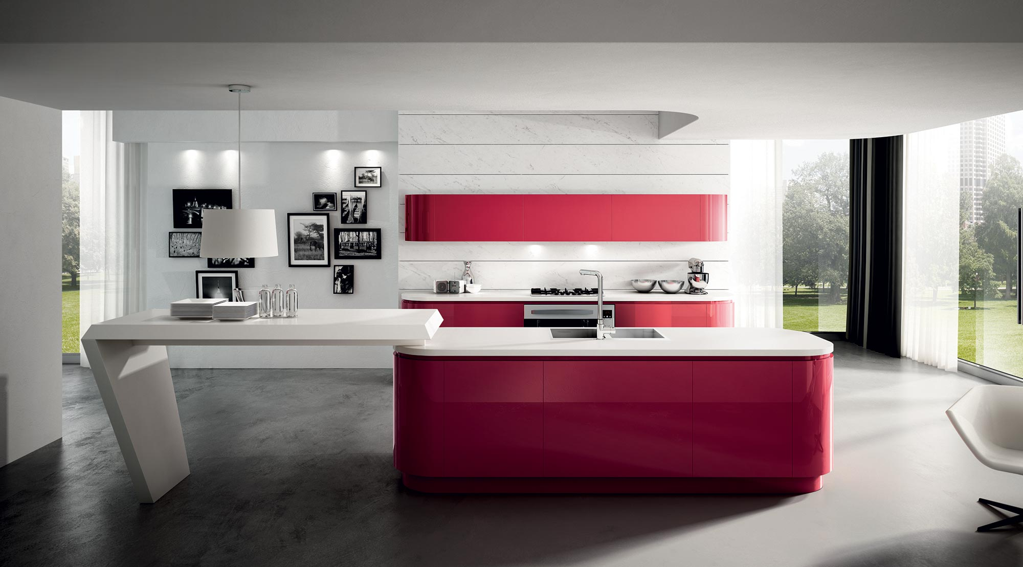 Interior design ideas.The Red color as part of the Kitchen interior